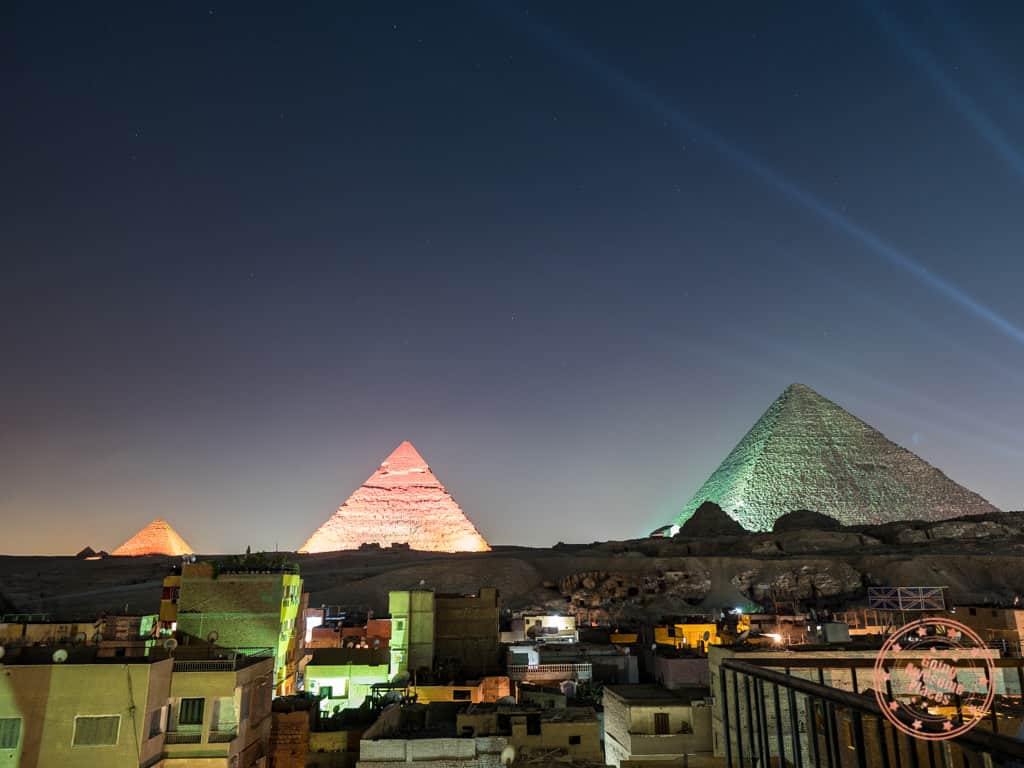 great pyramids sound and light show from rooftop of comfort pyramids inn