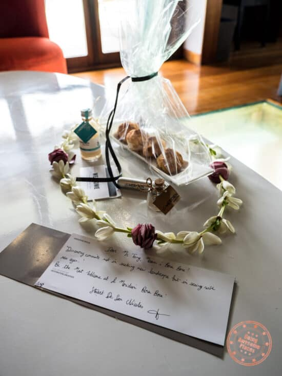 bora bora overwater bungalow welcome gifts