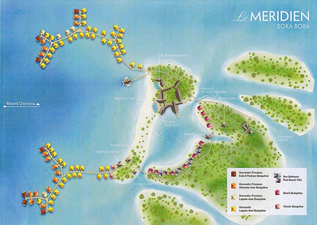 le meridien bora bora bungalow map