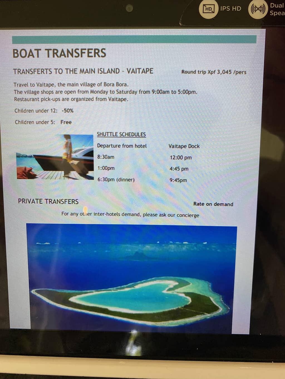 le meridien bora bora boat shuttle price rates
