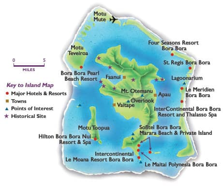 bora bora overwater bungalow resorts map