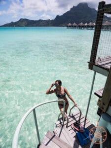 le meridien bora bora overwater bungalow staircase to lagoon