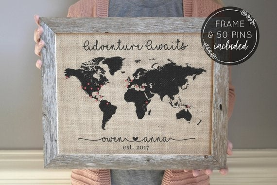 burlap world map with mini pins on etsy