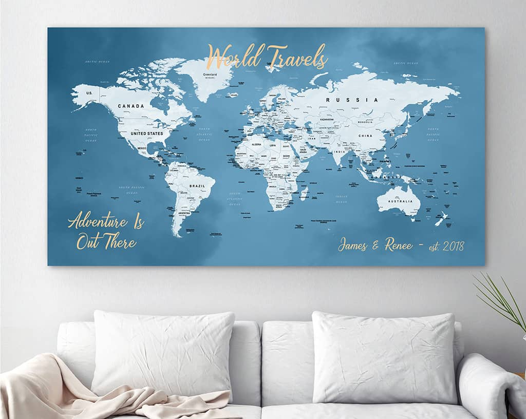 canvasvows world map with pins on canvas
