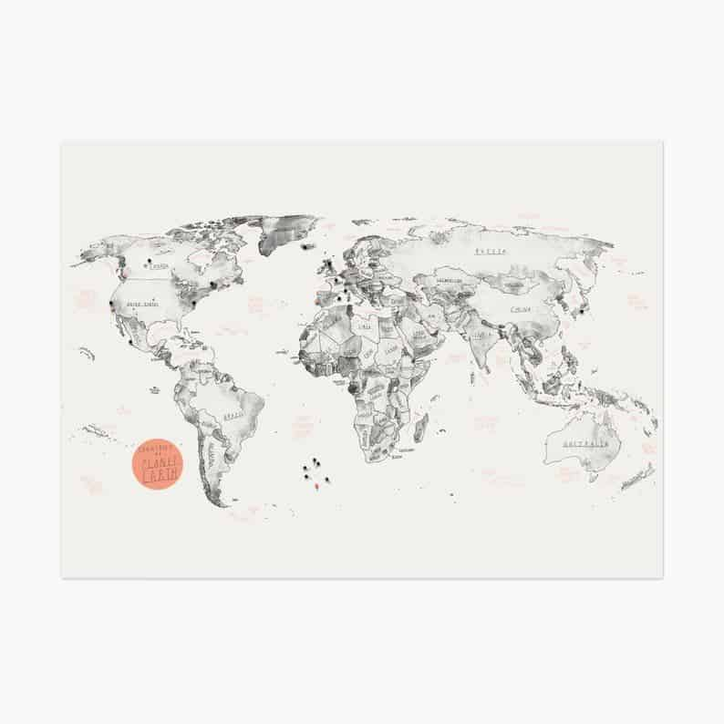 hand drawn water color world map with pins