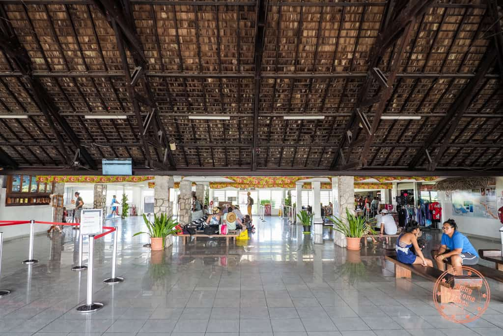 inside rangiroa island airport in french polynesia