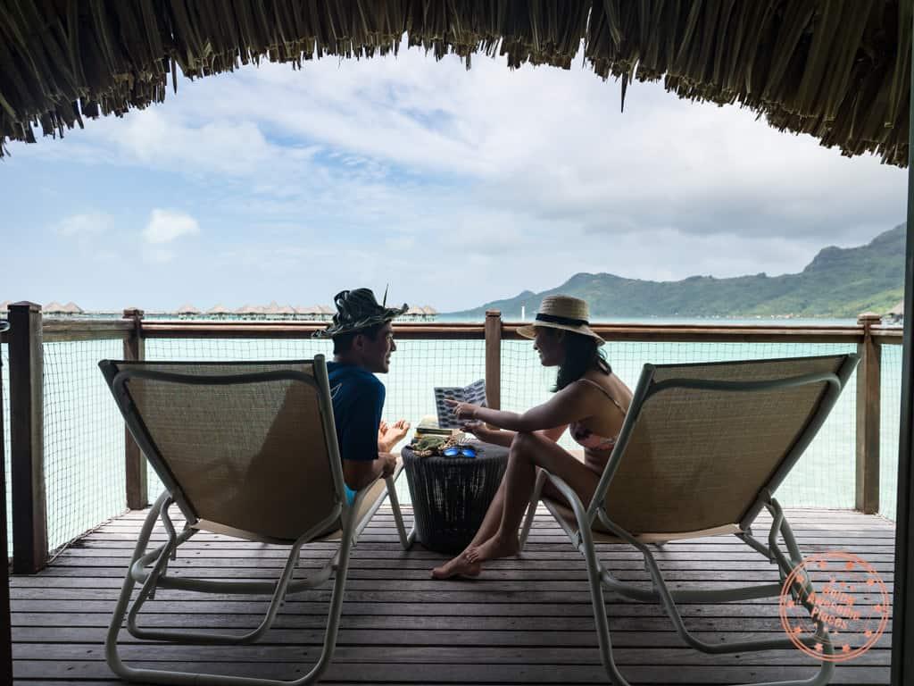 le meridien bora bora bungalow terrance beach chairs