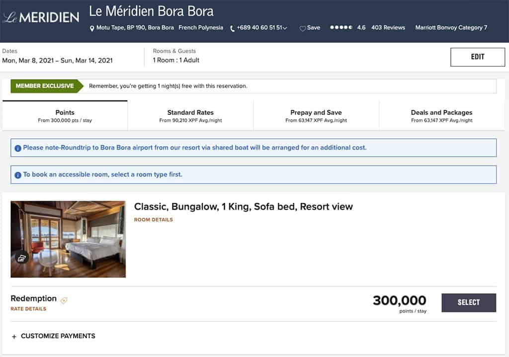 le meridien bora bora classic bungalow cost in marriott bonvoy points