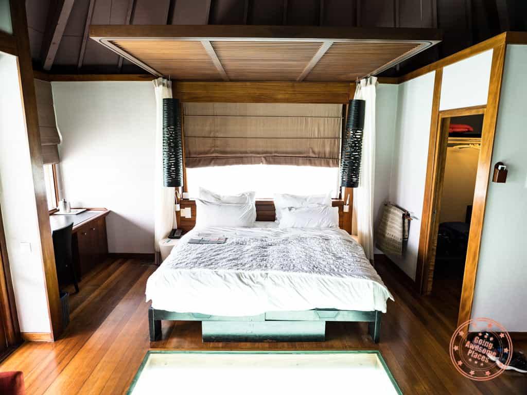 le meridien bora bora overwater bungalow king bed