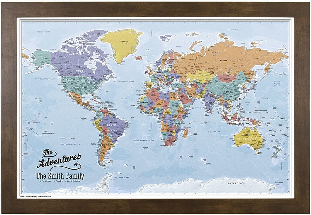 push pin travel world map on canvas