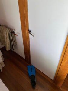 snorkel fin as door stop
