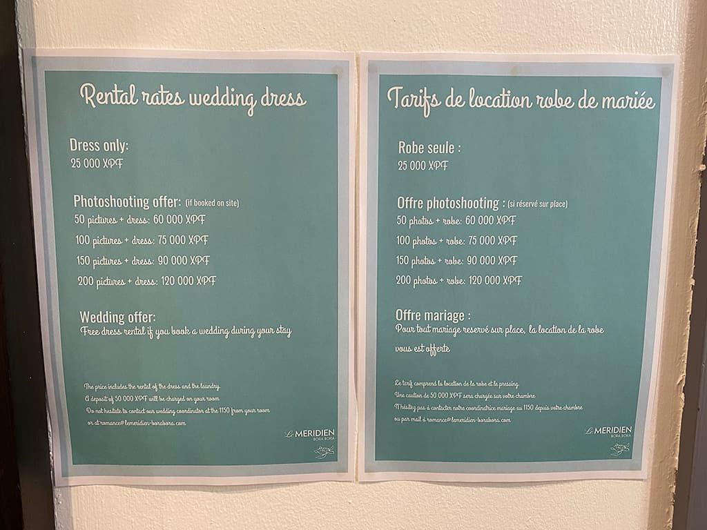 le meridien bora bora wedding dress rental rates