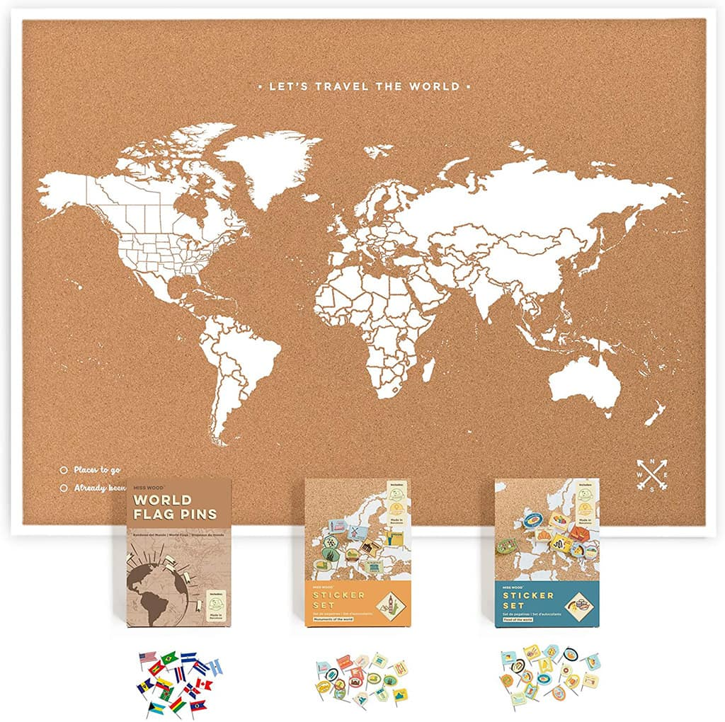 world map with pins cork board kit