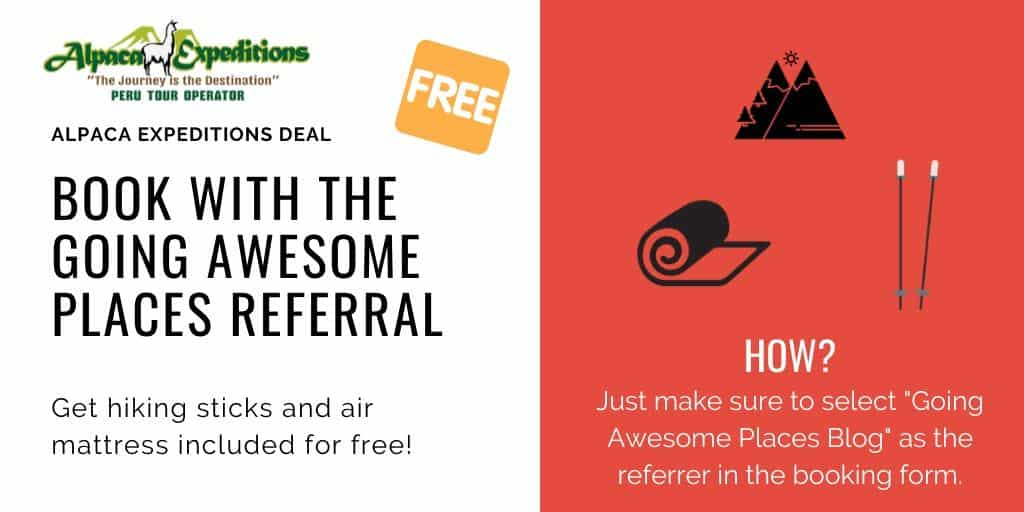 alpaca expeditions discount for free hiking sticks and air mattress