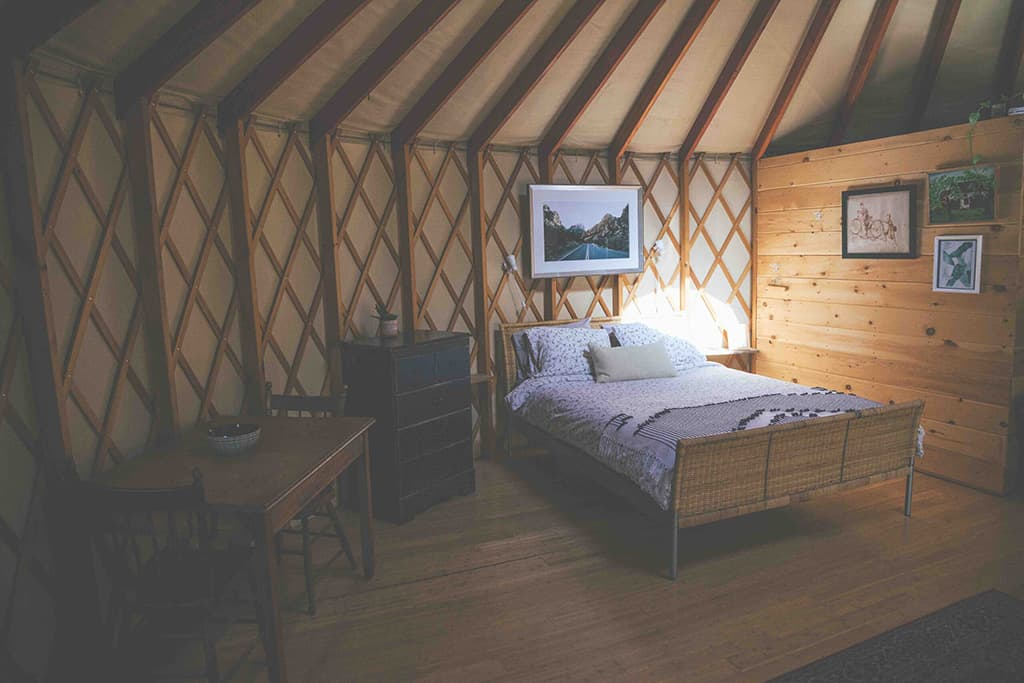 forest yurt in ontario bed
