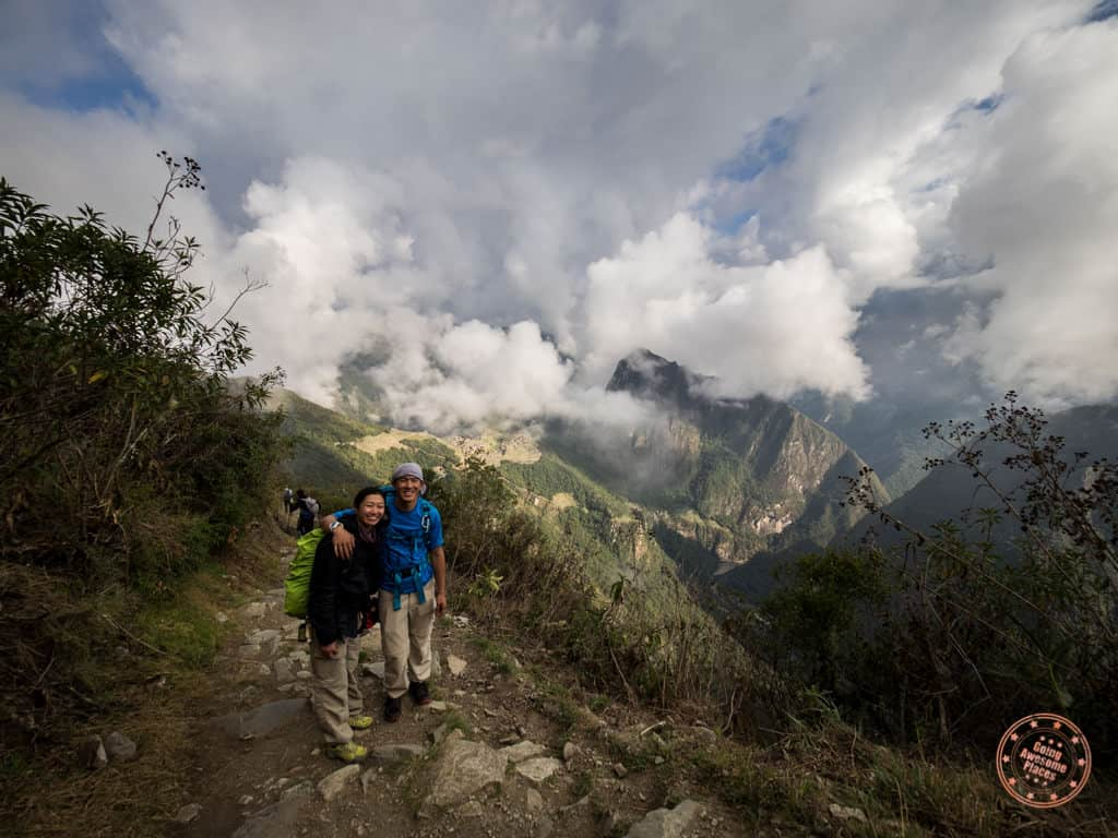 hiking into machu picchu on inca trail with alpaca expeditions