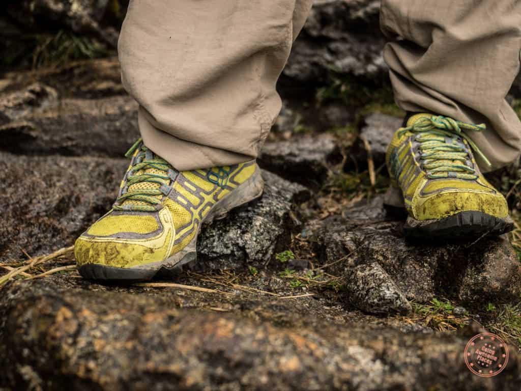 hiking shoes on machu picchu trek