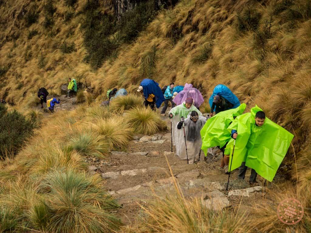 inca trail dead woman's pass with rain