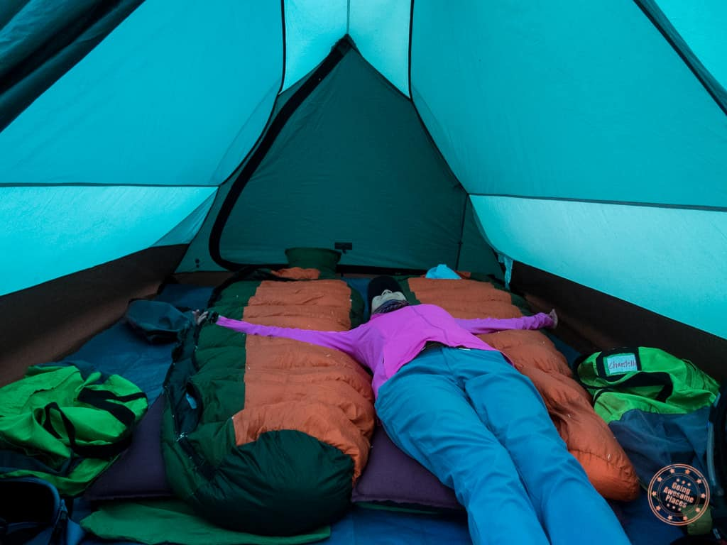 inside alpaca expeditions inca trail tent and gear
