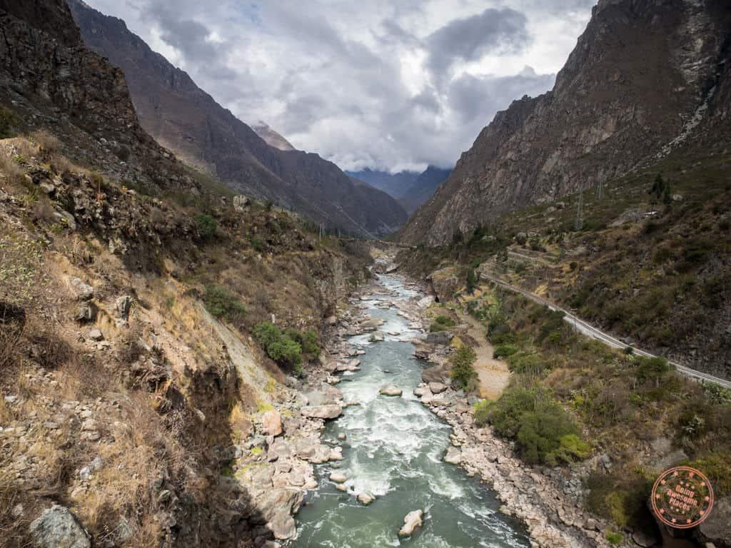 machu picchu hike with river and train tracks