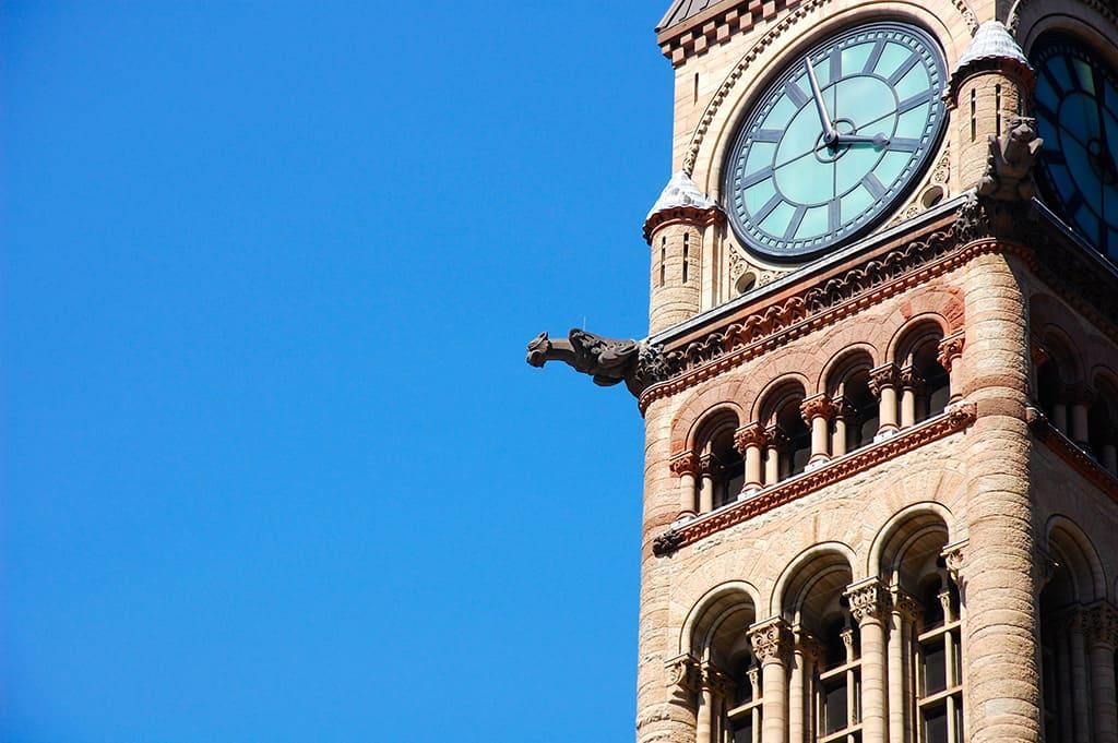 old city hall toronto gargoyles and clock tower