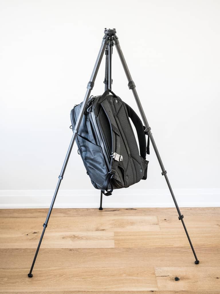 peak design travel backpack as tripod weight