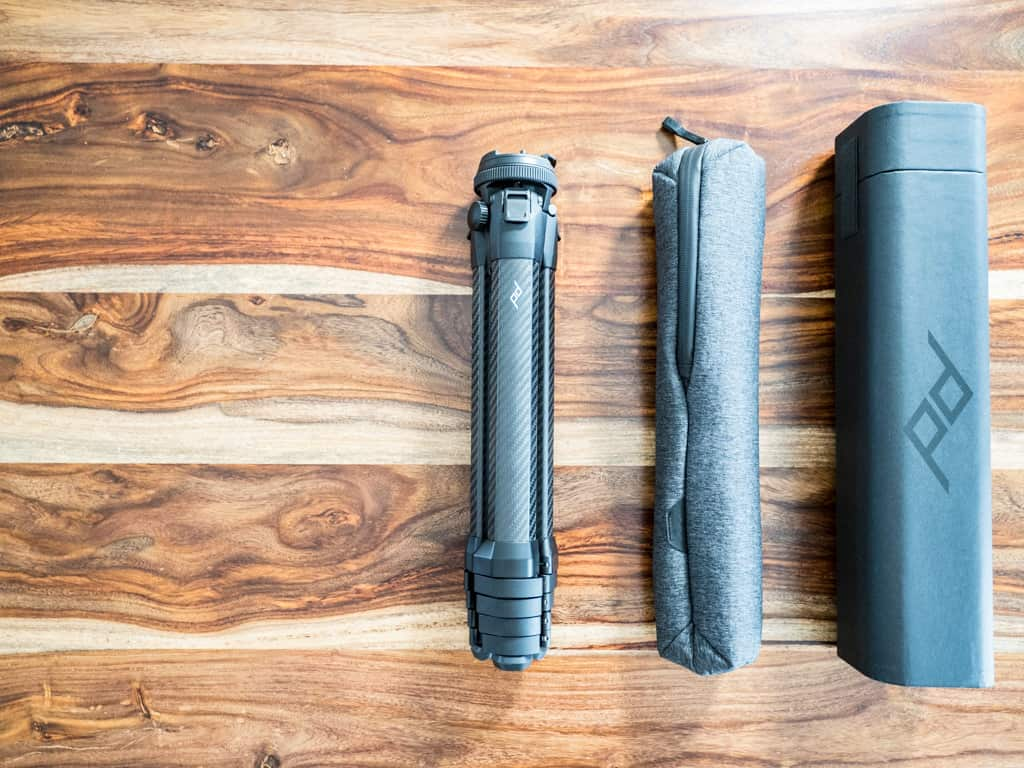 peak design tripod packaging and soft case
