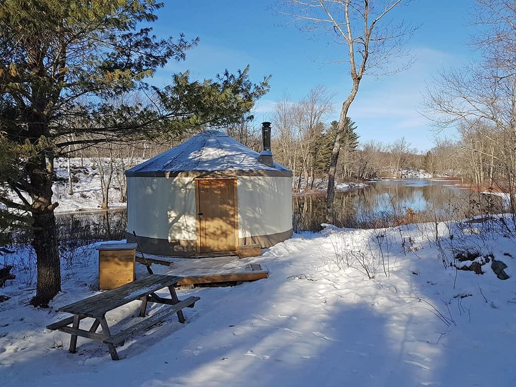 salmon river wilderness camp winter yurt in ontario