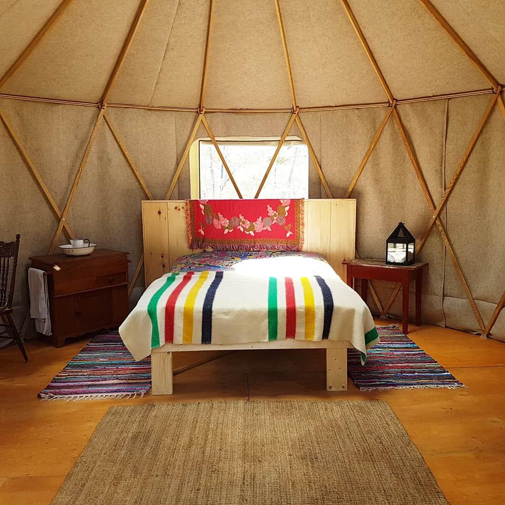 interior of salmon river wilderness camp yurt