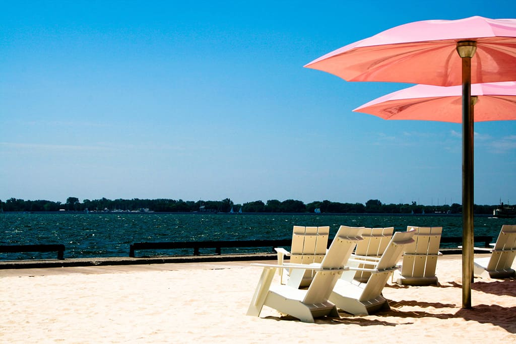sugar beach pink umbrellas toronto