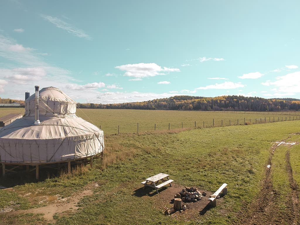the buffalo farm yurt in ontario aerial firepit