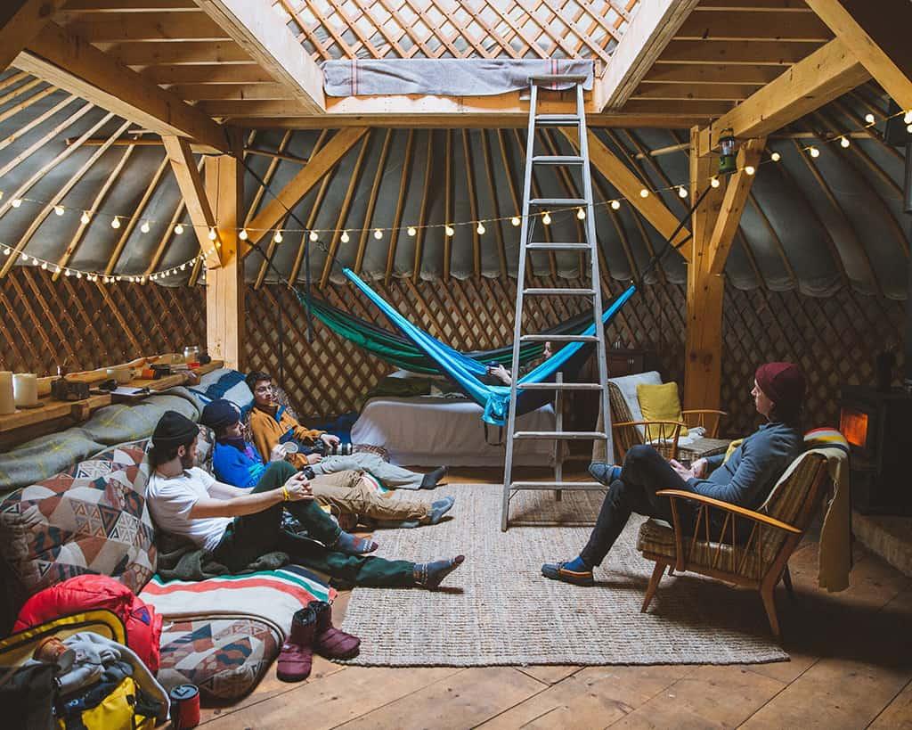 inside the buffalo farm yurt near north bay