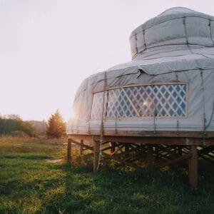 the buffalo farm yurt at sunset