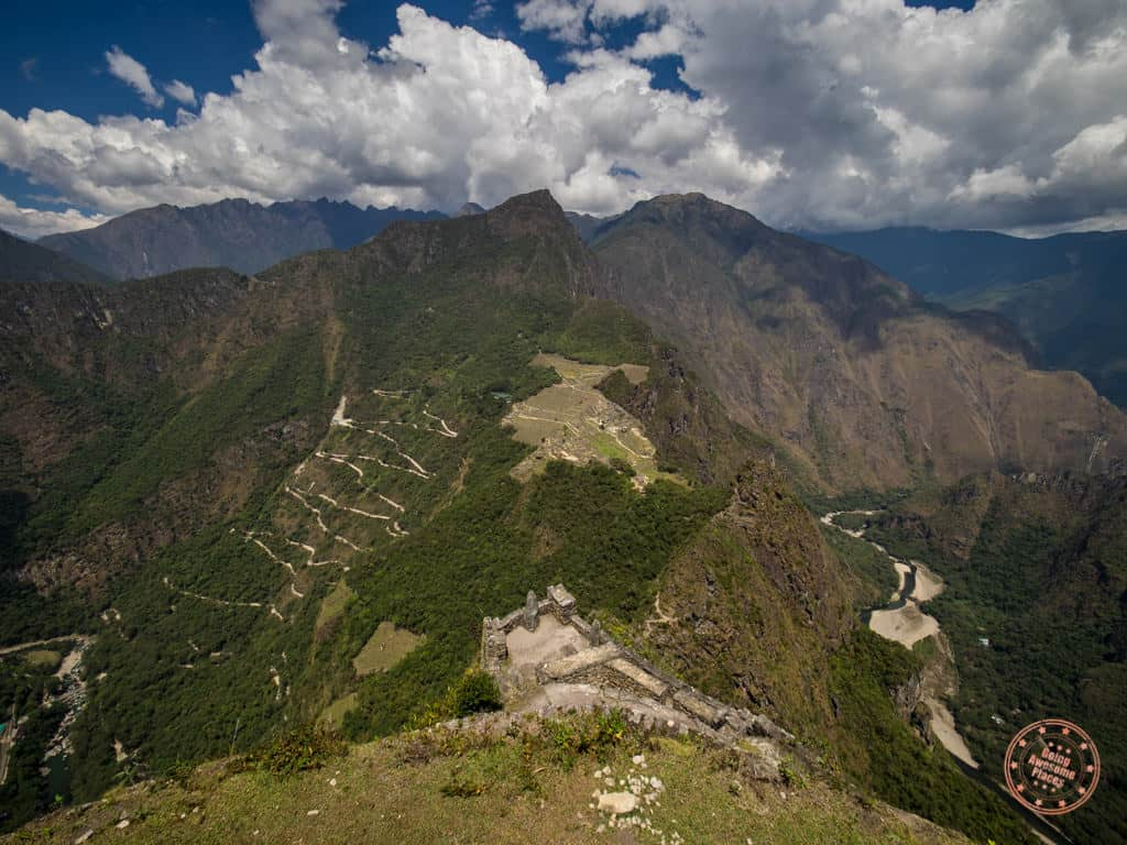 view of machu picchu from huayna picchu hike