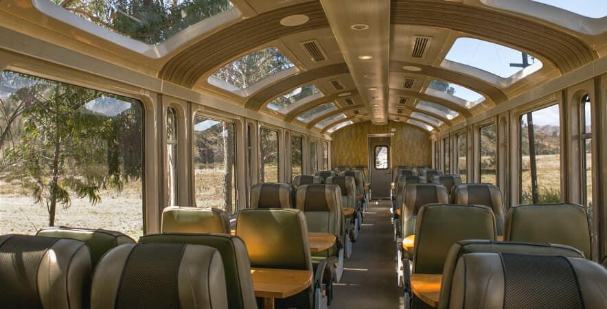 vistadome train perurail from aguas calientes interior