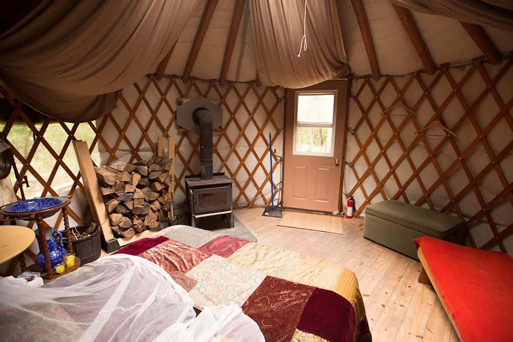 a yurt in the forest ontario interior space