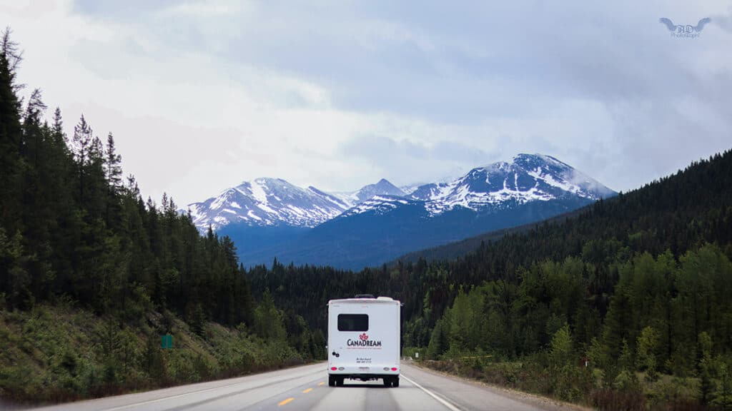 canadream rv rental driving on canadian highway