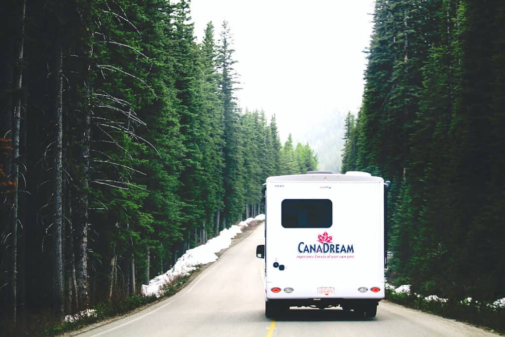 canadream rv on a canadian road as part of a road trip