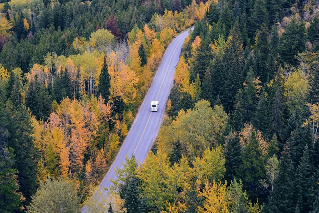 autumn and fall colours driving on ontario roads with an rv