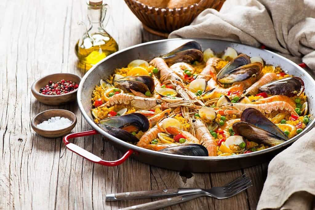 seafood paella virtual cooking class party