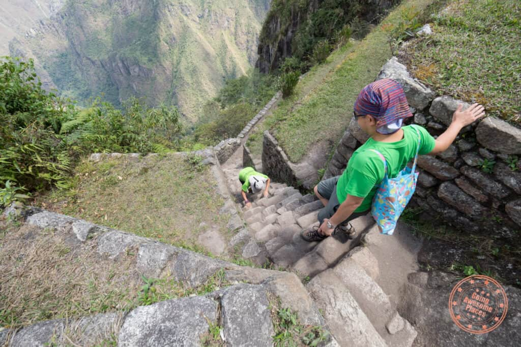 stair climb on all fours during huayna picchu hike