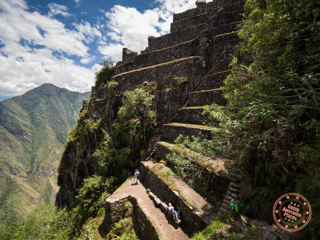 steep climb at the terraces of huayna picchu