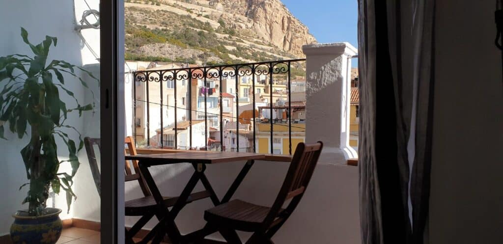 alicante airbnb in old town with view of castle