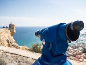 binoculars at santa barbara castle alicante