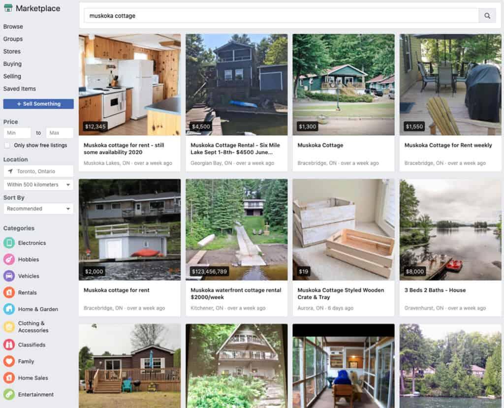 facebook market place muskoka cottages