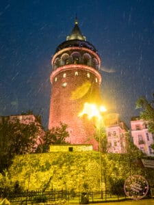 galata tower in the rain