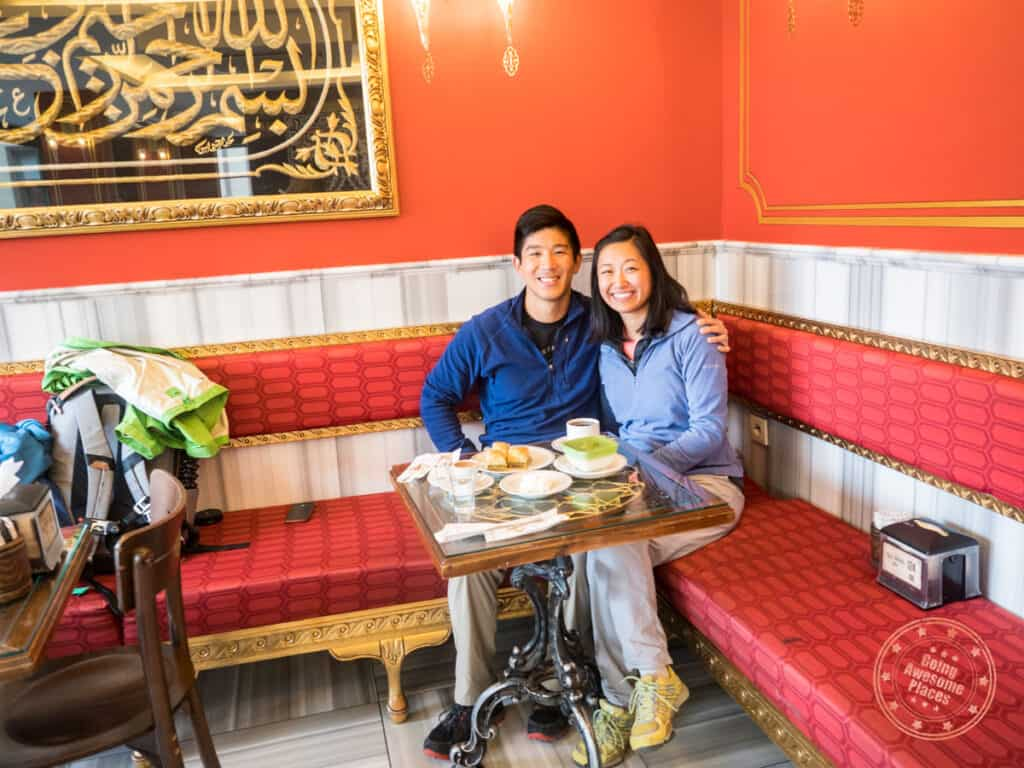 going awesome places couple photo with spread of dessert at hafiz mustafa in istanbul