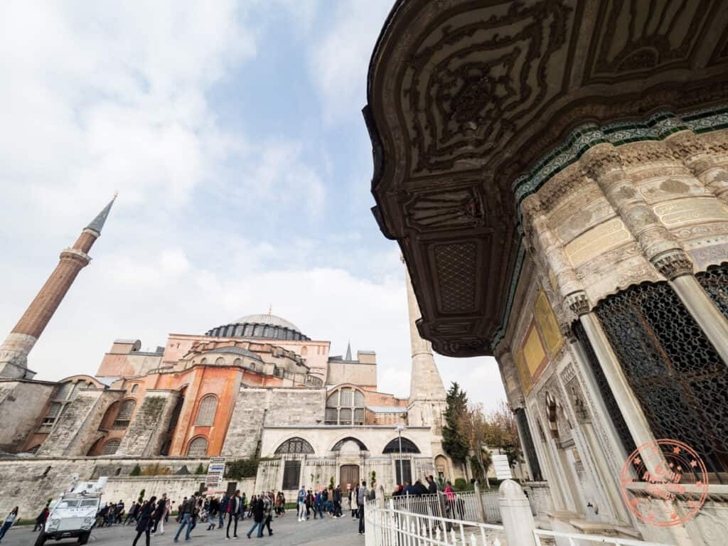 famous mosque hagia sophia in the background with turkish architecture in the foreground