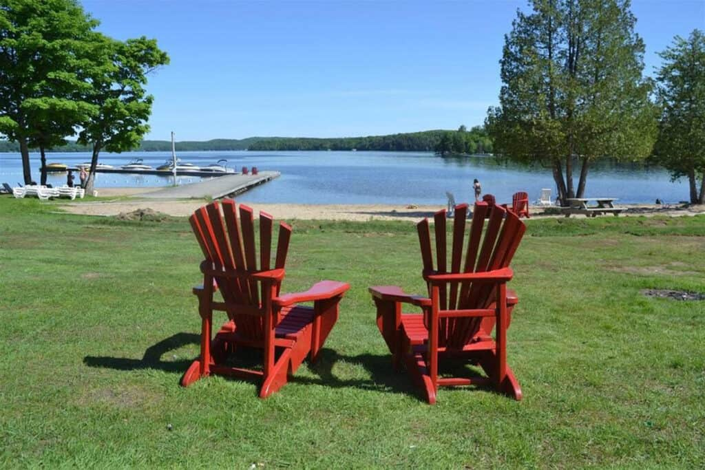 hidden valley resort in northern ontario with muskoka chairs
