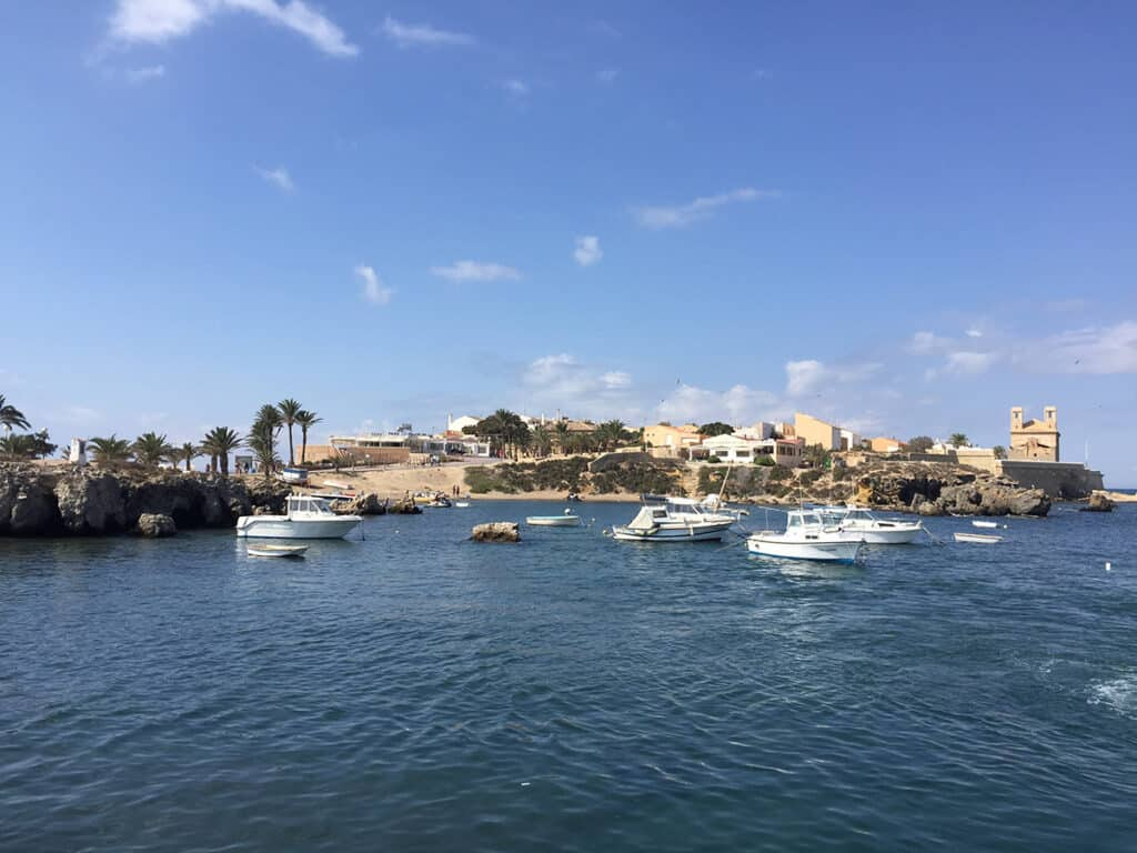 arriving at tabarca island from alicante